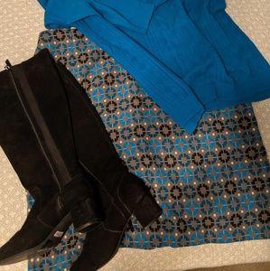 Talbots wool blend gray blue teal geometric skirt